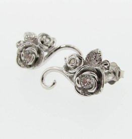 Signature Rose Rosebud & Vine White Gold & Diamond Earrings