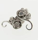 Signature Rose Diamond White Gold Earrings, Rosebud and Vine