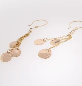 Hammered Yellow Gold 14K Hammered Cascade Earrings