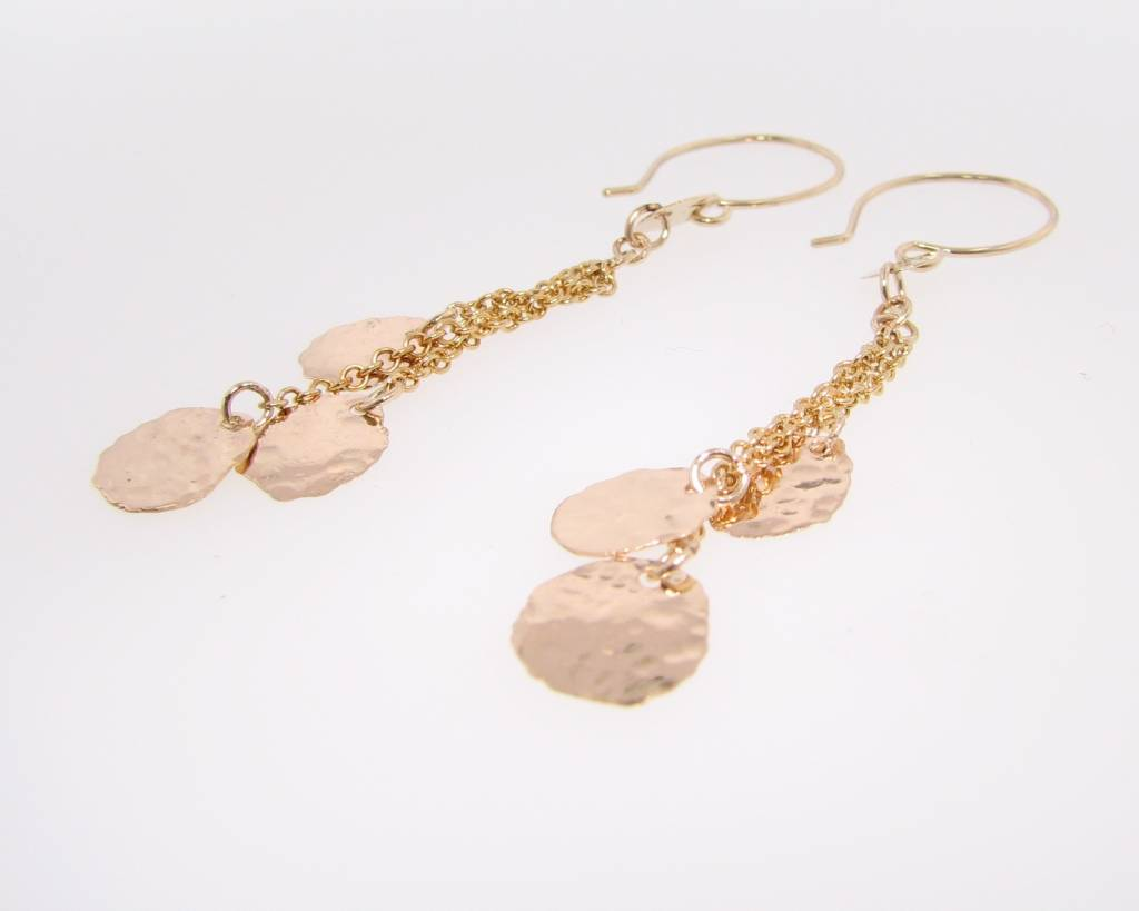 Hammered Yellow Gold Hammered Cascade Earrings