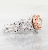 Signature Rose Two Tone Rose, White Gold Diamond Ring, Victorian a la Rose