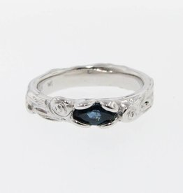 Rustic Blue Sapphire Silver Ring, Birch Bark Band