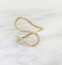 Sleek Diamond Ring, Yellow Gold, Curves