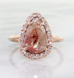 Trending Bridal Rough Diamond Rose Gold Ring, Rose Cut, Prismatic