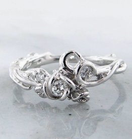 Signature Rose Diamond Silver Rose Ring, Garden, Three Stone
