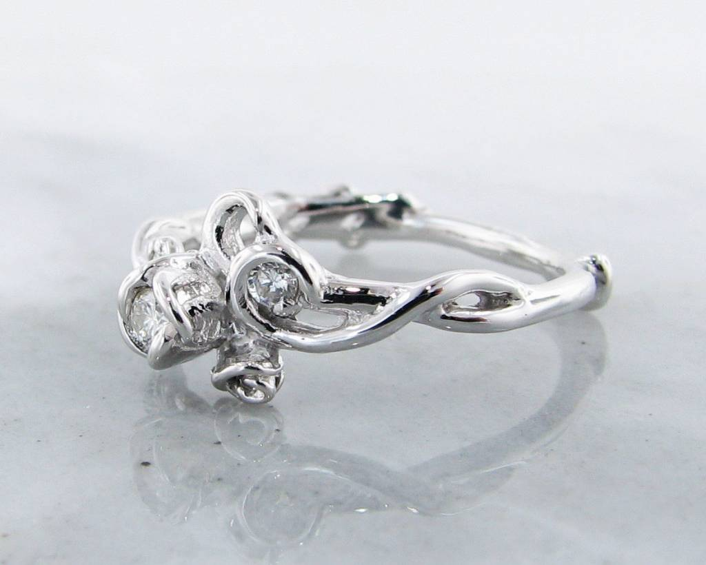 Signature Rose Diamond Silver Ring, Rose Garden, Three Stone