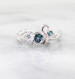 Signature Rose Blue Topaz Silver Rose Ring, Garden, Embellished Full Bloom