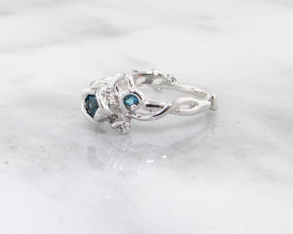Signature Rose Blue Topaz Silver Rose Ring, Garden, Embellished Full Bloom