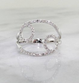 Sleek Diamond White Gold Ring, Cancer, Zodiac