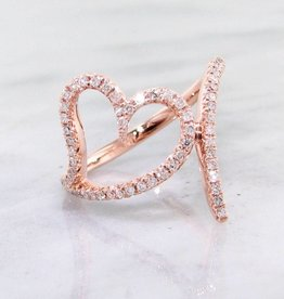 Sleek Rose Gold Diamond Heart Ring