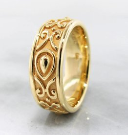 Sleek 22K Yellow Gold Ring, Men's Band, Morocco