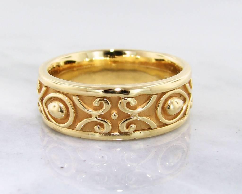 Sleek 22K Yellow Gold Ring, Men's Band, Morocco