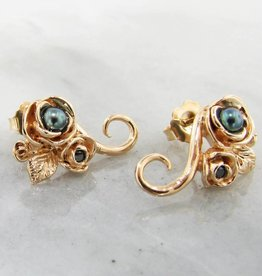 Signature Rose Yellow Gold Black Pearl Earrings, Black Diamond, Rosebud, Vine