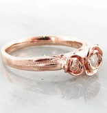 Signature Rose Moissanite Rose Gold Ring, Three Roses