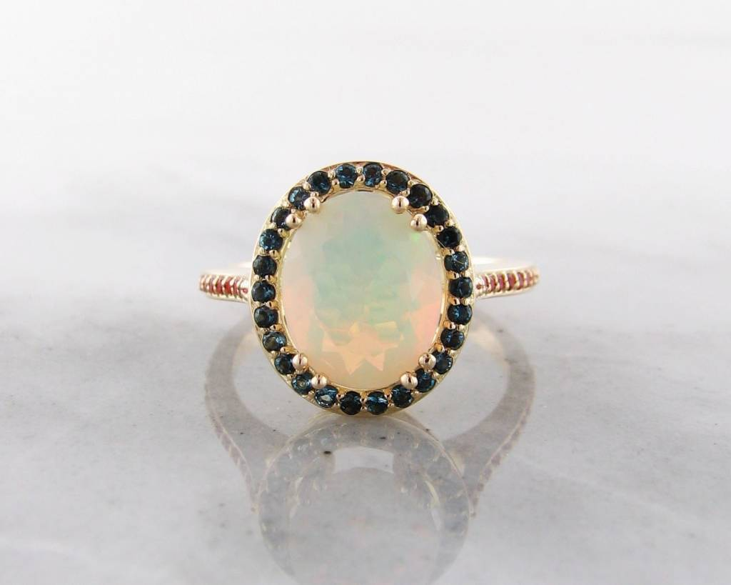 Vintage 18K Yellow Gold Opal, Topaz Ring, Fiery
