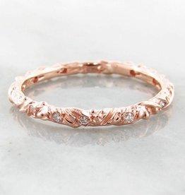 Organic Diamond Rose Gold Band, Textural, Eternity