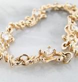 Vintage Moissanite Yellow Gold Bracelet, Petite Swirl