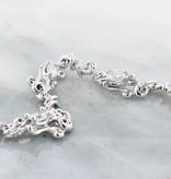 Organic Moissanite Bracelet White Gold, Petite Swirl