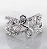 Vintage White Gold Art Nouveau Diamond Ring, Flourish