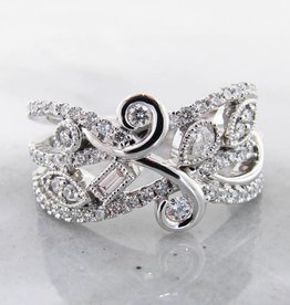 Vintage White Gold Art Nou Veau Diamond Ring, Flourish