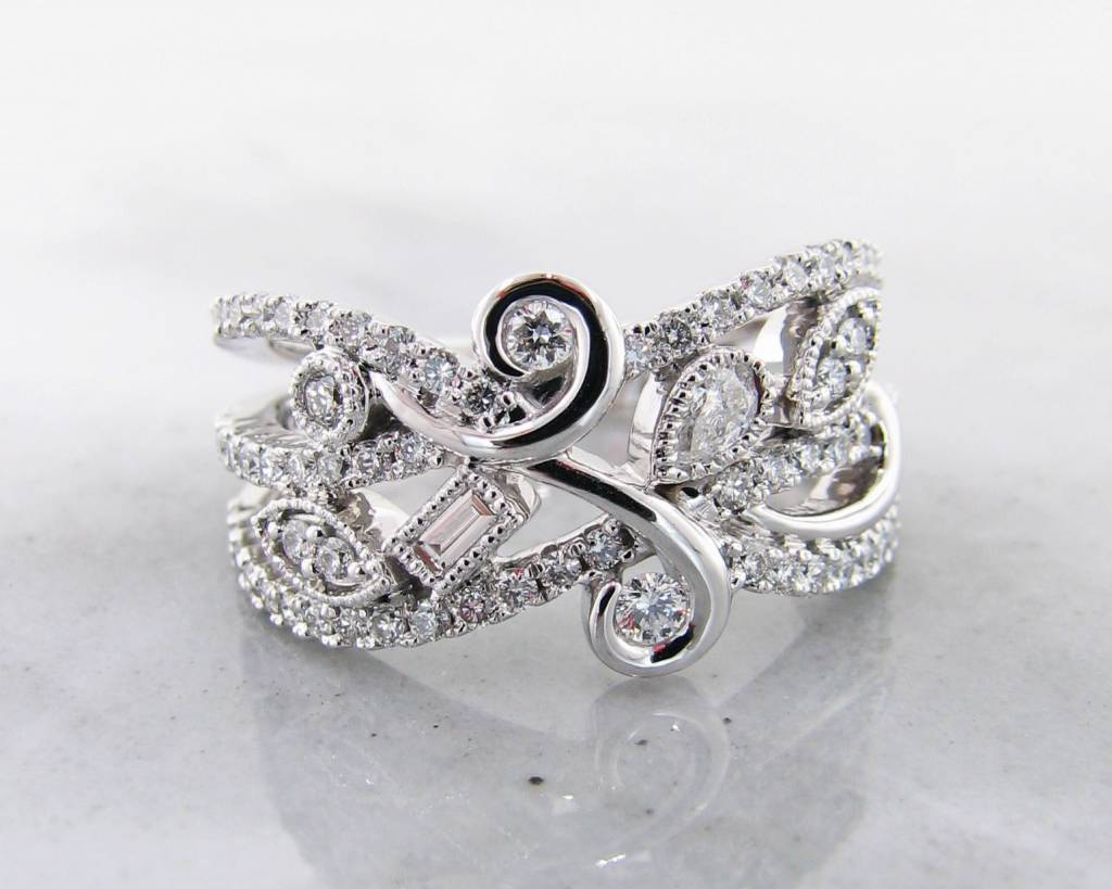 Vintage White Gold Art Nou Veau Diamond Ring, Flourish