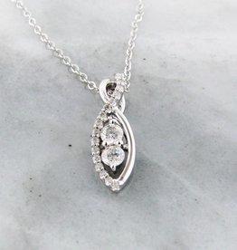 Vintage Diamond Two Stone White Gold Necklace