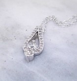 Vintage White Gold, Diamond Two Stone Necklace, Stack