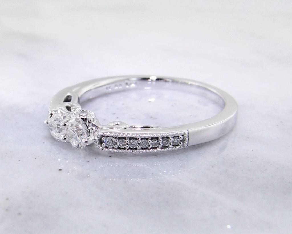Vintage Two Stone Diamond Ring, White Gold, Scroll Work