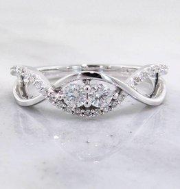Vintage Diamond Two Stone White Gold Ring, Woven