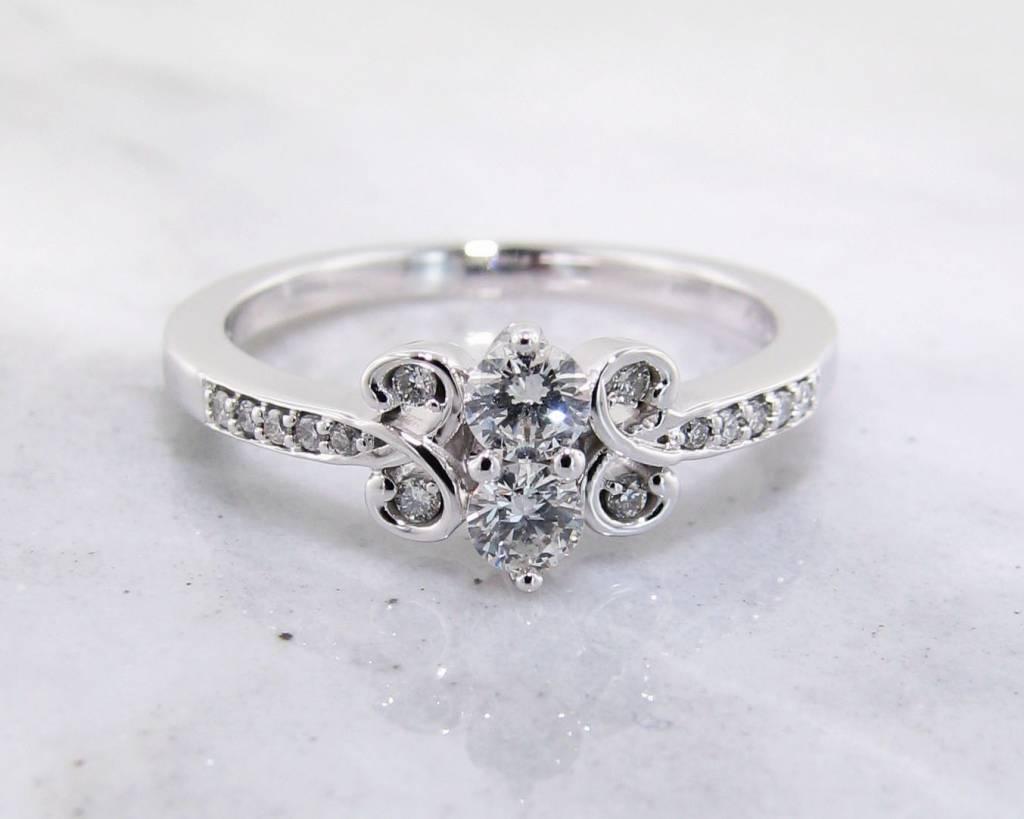 Vintage Diamond Two Stone White Gold Ring