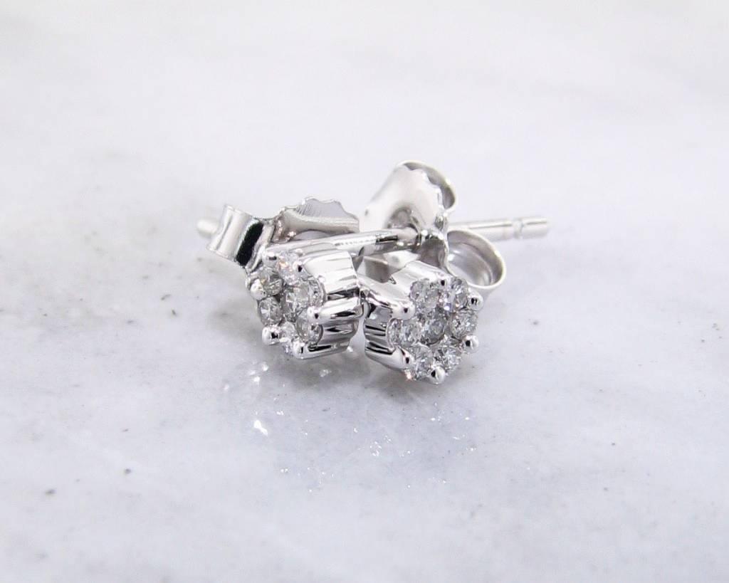 Vintage Diamond White Gold Earrings, Cluster, 1/10ct