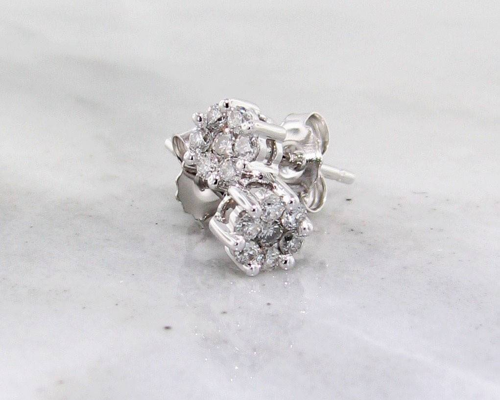 Vintage Diamond White Gold Earrings, Cluster, 1/4ct