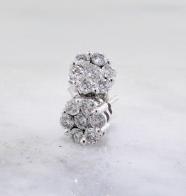 Vintage Diamond White Gold Earrings, Cluster, 1/3ct