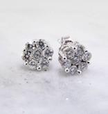 Vintage Diamond White Gold Earrings, Cluster, 1/3ct