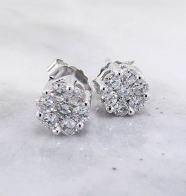 Vintage Diamond White Gold Earrings, Cluster, 1/2ct