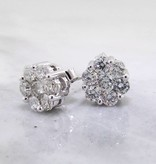 Vintage Diamond White Gold Earrings, Cluster, 1ct