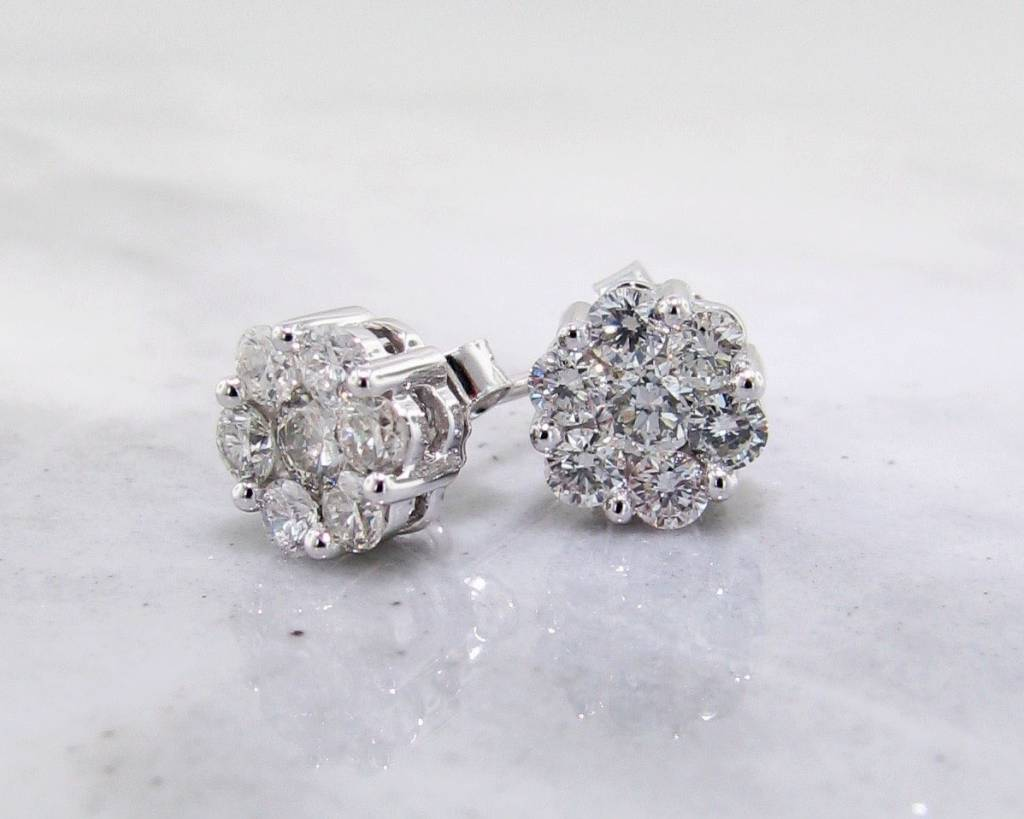 earrings vintage white diamond jewelers wexford cluster gold