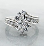 Vintage Diamond White Gold Wedding Ring Set, Interlocking Marquise