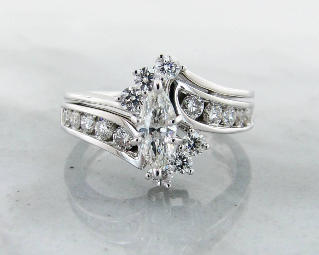 vintage diamond white gold wedding ring set interlocking marquise - Marquise Wedding Ring