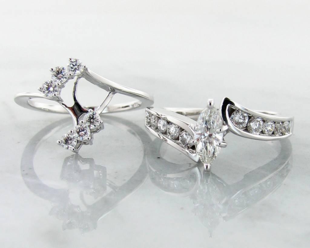 interlocking marquise vintage diamond white gold wedding ring set interlocking marquise - Interlocking Wedding Rings