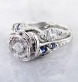 Signature Rose Lab Diamond Sapphire Platinum Wedding Set, Tea Rose Ring