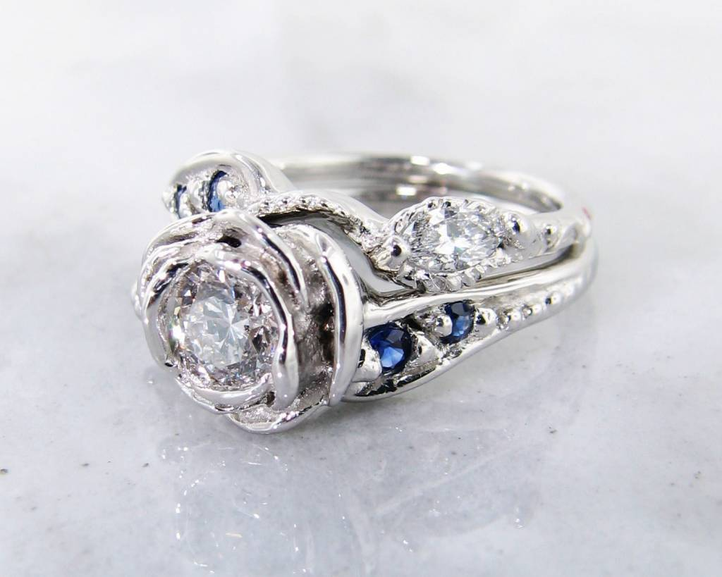Signature Rose Lab Diamond Sapphire Platinum Wedding Set, Tea Rose Ring