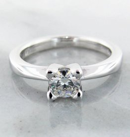 Timeless Bridal Moissanite Silver Ring Solitaire , Wexford Standard Engagement Ring, 5mm