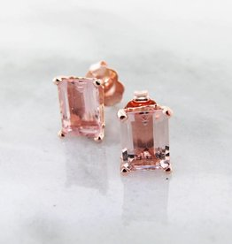 Vintage Morganite Rose Gold, Scroll work Stud Earrings