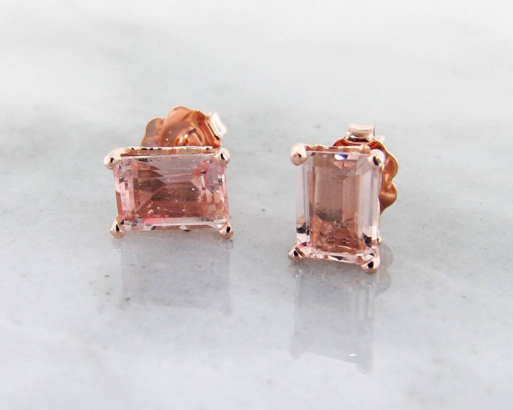 of diamond cz unique earringssterling rose morganite gold stud silver square lovely earrings