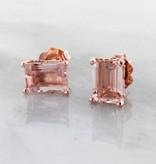 Vintage Morganite Rose Gold, Scroll work Stud Earrings