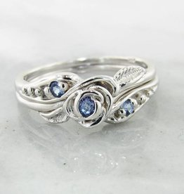 Signature Rose Tanzanite Silver Wedding Ring Set, Tea Rose