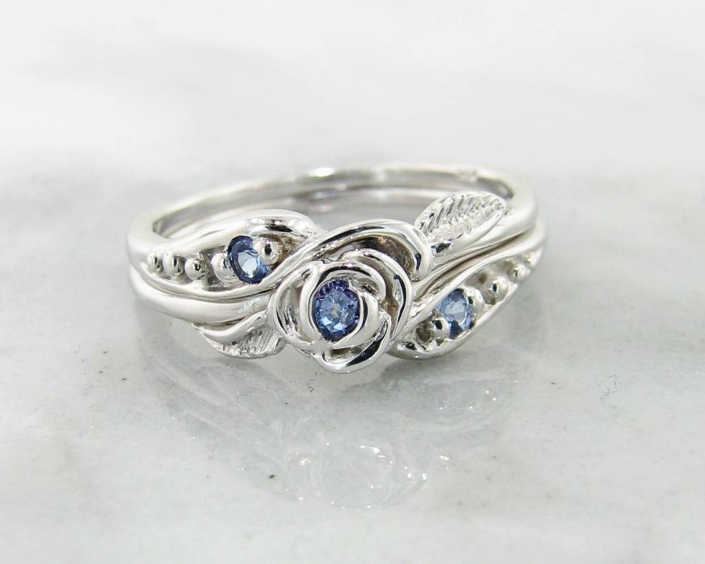 engagement and htm band matching tanzanite wedding ring halo rings diamond with in