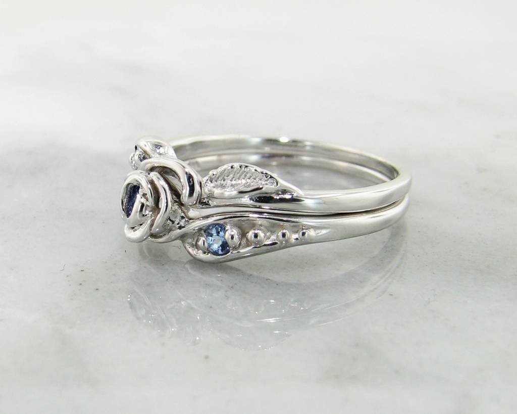 Signature Rose Tanzanite Silver Wedding Ring Set, Tea Rose
