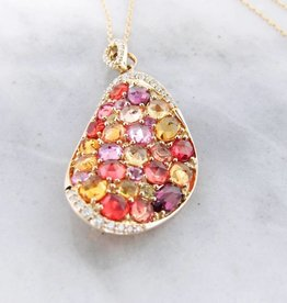 Multi-Gem Yellow Gold Necklace, Gem Encrusted Autumn